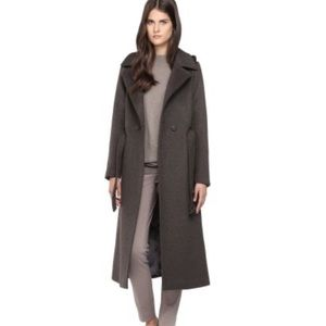Soia & Kyo Belted Wool Trench Charcoal Grey